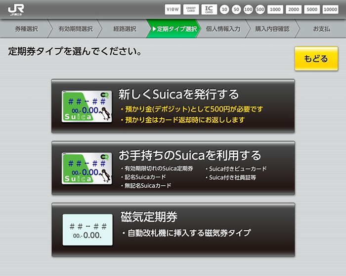 Suica定期券の購入手順
