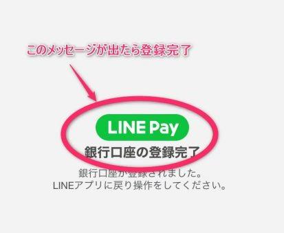 LINE Pay銀行口座登録完了