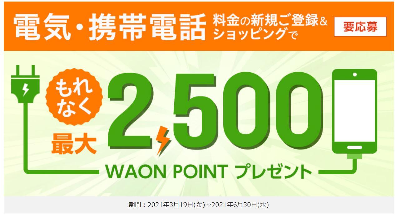 電気・携帯電話料金の新規ご登録&ショッピングで最大2,500WAON POINTプレゼント!