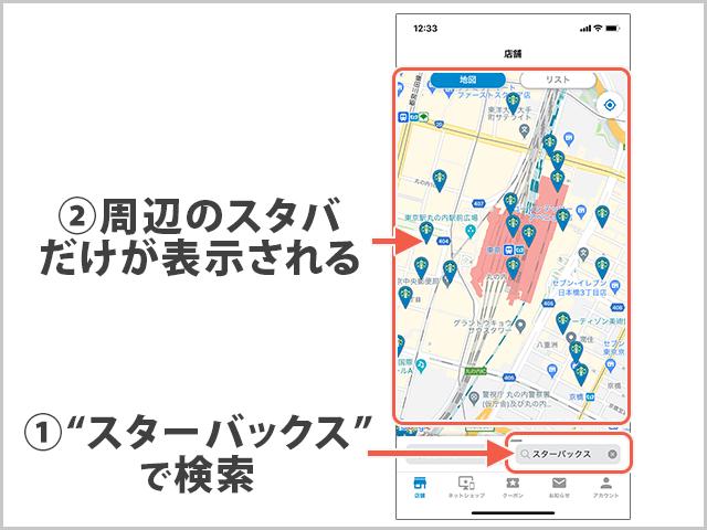 スターバックス検索画面