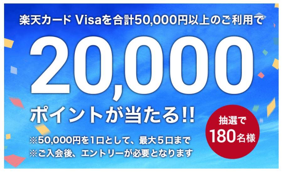 楽天カード Visaご利用で20,000ポイントが当たる!