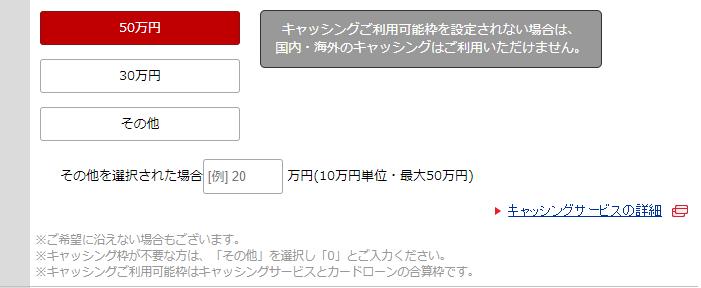 三菱UFJカード VIASOカードの申込フォーム(キャッシング枠)